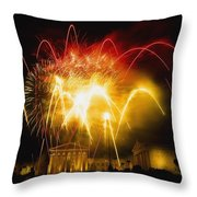 Fireworks At Philadelphia Museum Of Art Throw Pillow