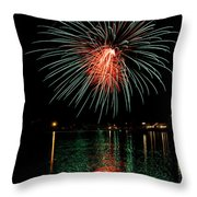 Fireworks Of Green And Red Throw Pillow