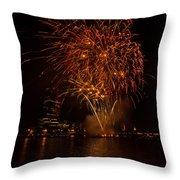 Fireworks On River Thames Throw Pillow