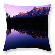 First Light On Mount Rundle Throw Pillow