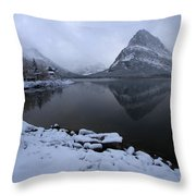 First Snow At Grinnell Throw Pillow