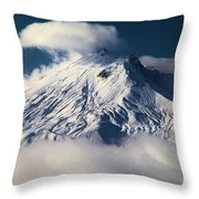 First Snow At Mt St Helens Throw Pillow