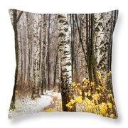 First Snow. Hidden Path Throw Pillow
