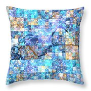 First Time Geometric Blue Throw Pillow
