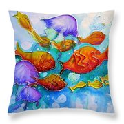 Fish Abstract Painting Throw Pillow