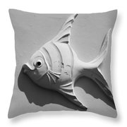 Fish And Shadow Face In Black And White Throw Pillow