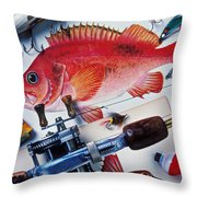 Fish Bookplates And Tackle Throw Pillow by Garry Gay