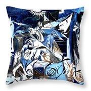 Fish Guernica Throw Pillow