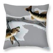 Fish Mount Set 03 C Throw Pillow