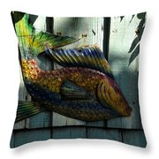 Fish On Fence Throw Pillow