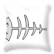 Fish Skeleton - Fishbones Throw Pillow