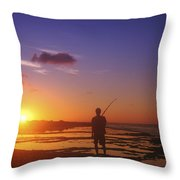 Fisherman At Sunset Throw Pillow