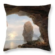 Fisherman In A Grotto Helgoland Throw Pillow by Christian Ernst Bernhard Morgenstern