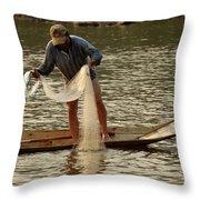 Fisherman Mekong 2 Throw Pillow