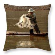 Fisherman Mekong 3 Throw Pillow