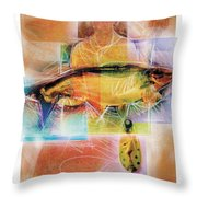 Fisherman With Fish Throw Pillow