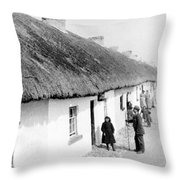 Fishermans Cottages In Claddagh Ireland Throw Pillow