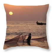 Fishermen Holding Nets In Sea At Sunset Throw Pillow