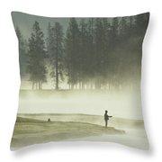 Fishermen In The Morning Mist Throw Pillow