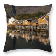 Fishermen's Village Sakrisoy  Throw Pillow
