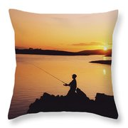 Fishing At Sunset, Roaring Water Bay Throw Pillow