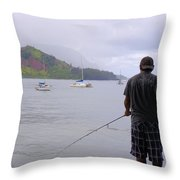 Fishing At The End Of The Pier Throw Pillow