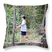 Fishing Beyond The Gristmill Throw Pillow