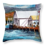 Fishing Boat And Dock Watercolor Throw Pillow