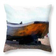 Fishing Boat - Brighton Beach Throw Pillow