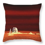 Fishing Boat By Sea Stacks Throw Pillow