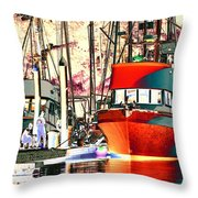 Fishing Boat In Harbor Throw Pillow