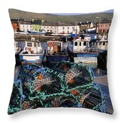 Fishing Boat Moored At A Harbor Throw Pillow