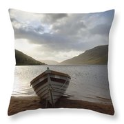 Fishing Boat Moored On Lough Nafooey Throw Pillow