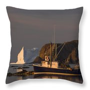 Fishing Boat Near An Iceberg, Durrell Throw Pillow