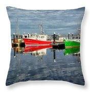 Fishing Boat Reflections At Macmillan Pier In Provincetown Cape  Throw Pillow