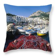 Fishing Boats And Nets In The Marina Throw Pillow