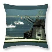 Fishing Boats And Windmill In Chatham On Cape Cod Massachusetts Throw Pillow