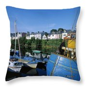 Fishing Boats At A Harbor, Roundstone Throw Pillow