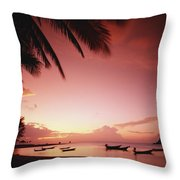 Fishing Boats At Sunset On Mae-haad Throw Pillow