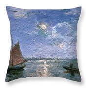 Fishing Boats By Moonlight Throw Pillow