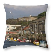 Fishing Boats Hayle Harbour Throw Pillow
