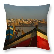 Fishing Boats In Front Of Kasbah Des Throw Pillow by Axiom Photographic