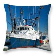 Fishing Boats In Frozen Hyannis Harbor Throw Pillow