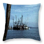 Fishing Boats In Harbor Throw Pillow