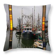 Fishing Boats In Steveston Group Photo Throw Pillow