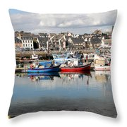 Fishing Boats In The Harbor Throw Pillow