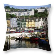 Fishing Boats Moored At A Harbor, Cobh Throw Pillow
