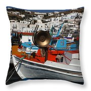 Fishing Boats Mykonos Throw Pillow
