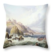 Fishing Boats Off Scotland Throw Pillow