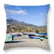 Fishing Boats On A Beach In Spain Throw Pillow